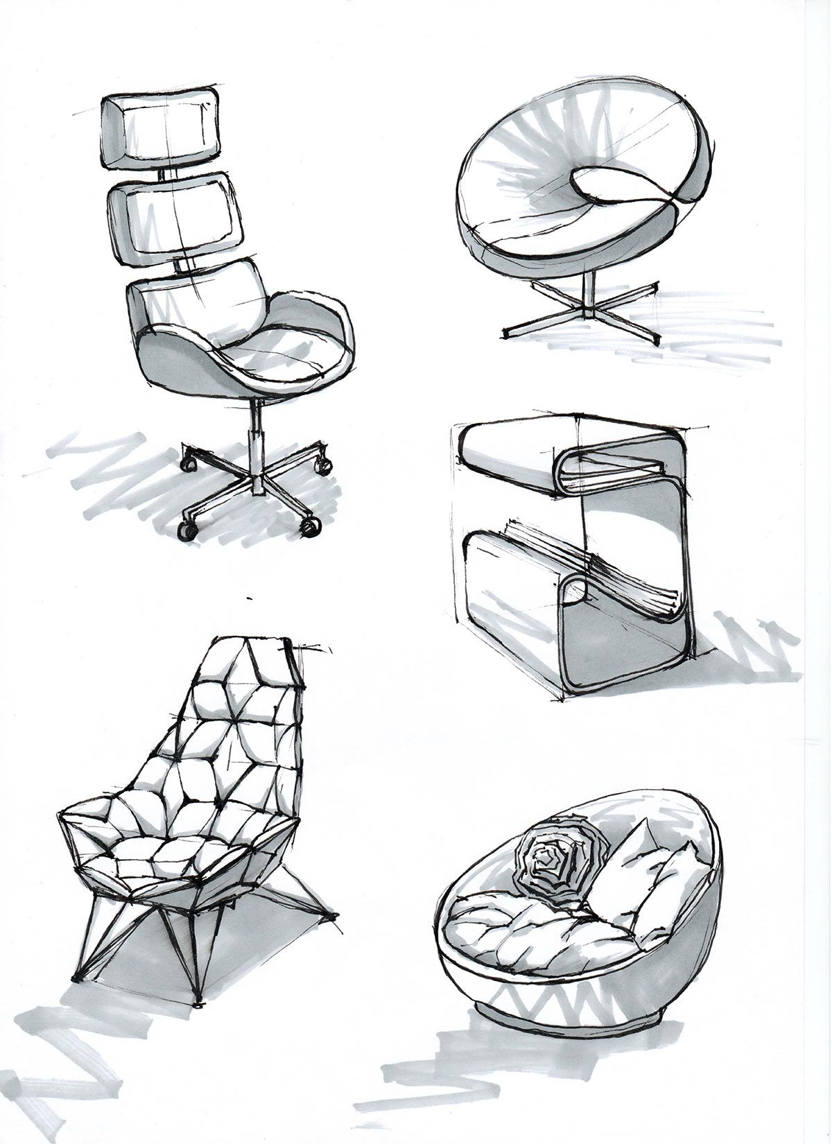 interior portfolio #chairsketch | interior design sketches