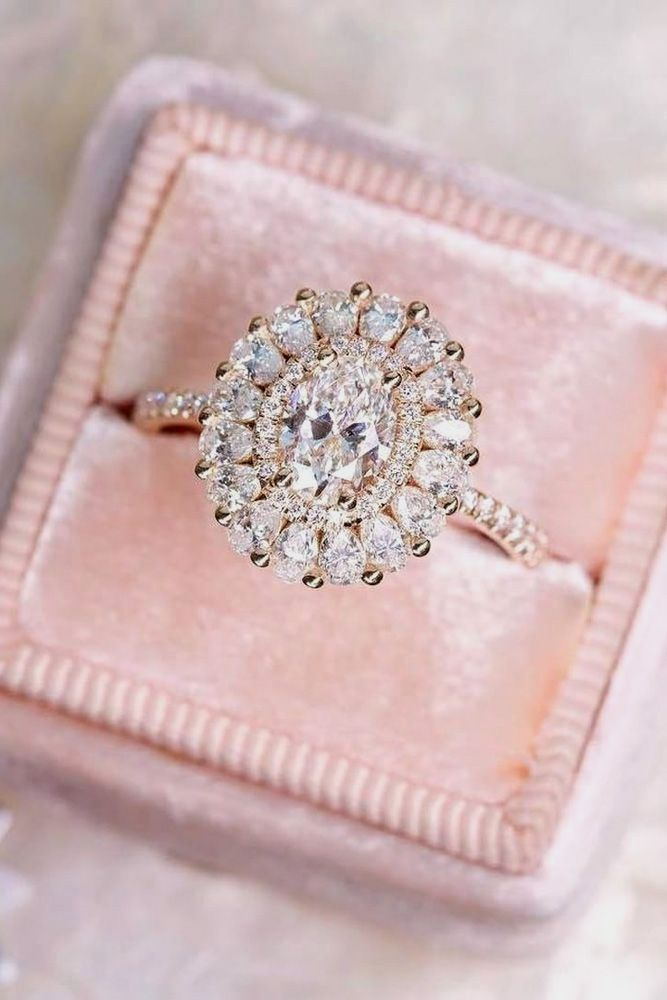 rose gold halo pave engagement rings 3 | Accesorios | Pinterest ...