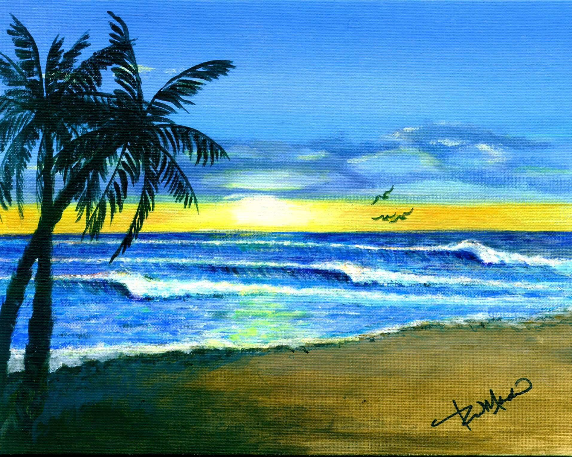 Tropical Sunset Beach Palm Trees Painting