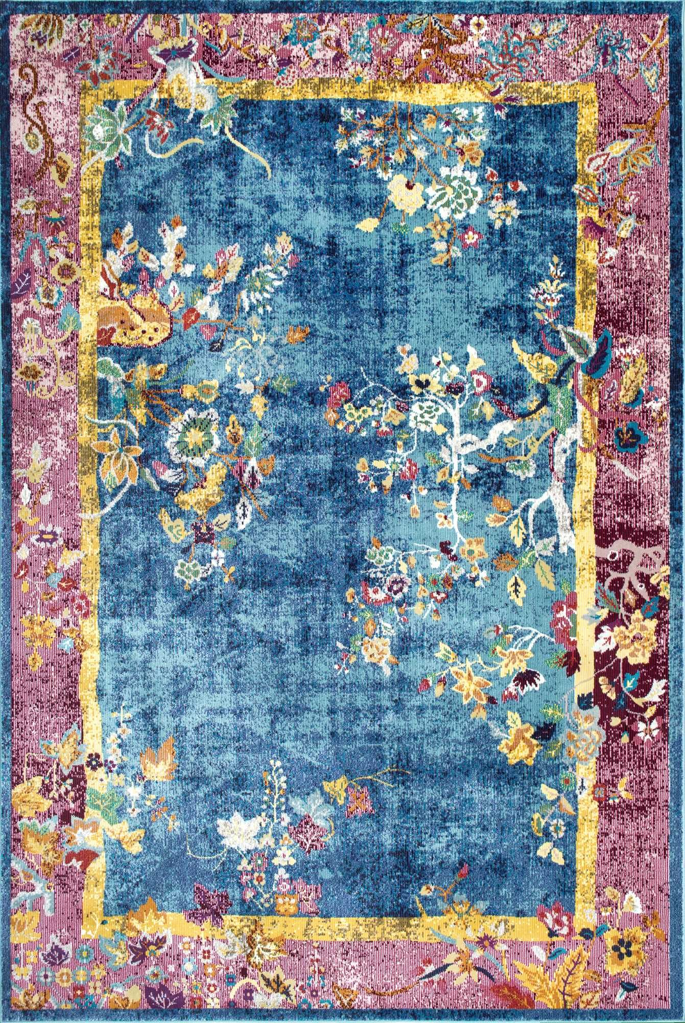 Louvaire Chinese Art Deco Blossoms Blue Rug Art Deco Rugs Area Rugs Blue Rug