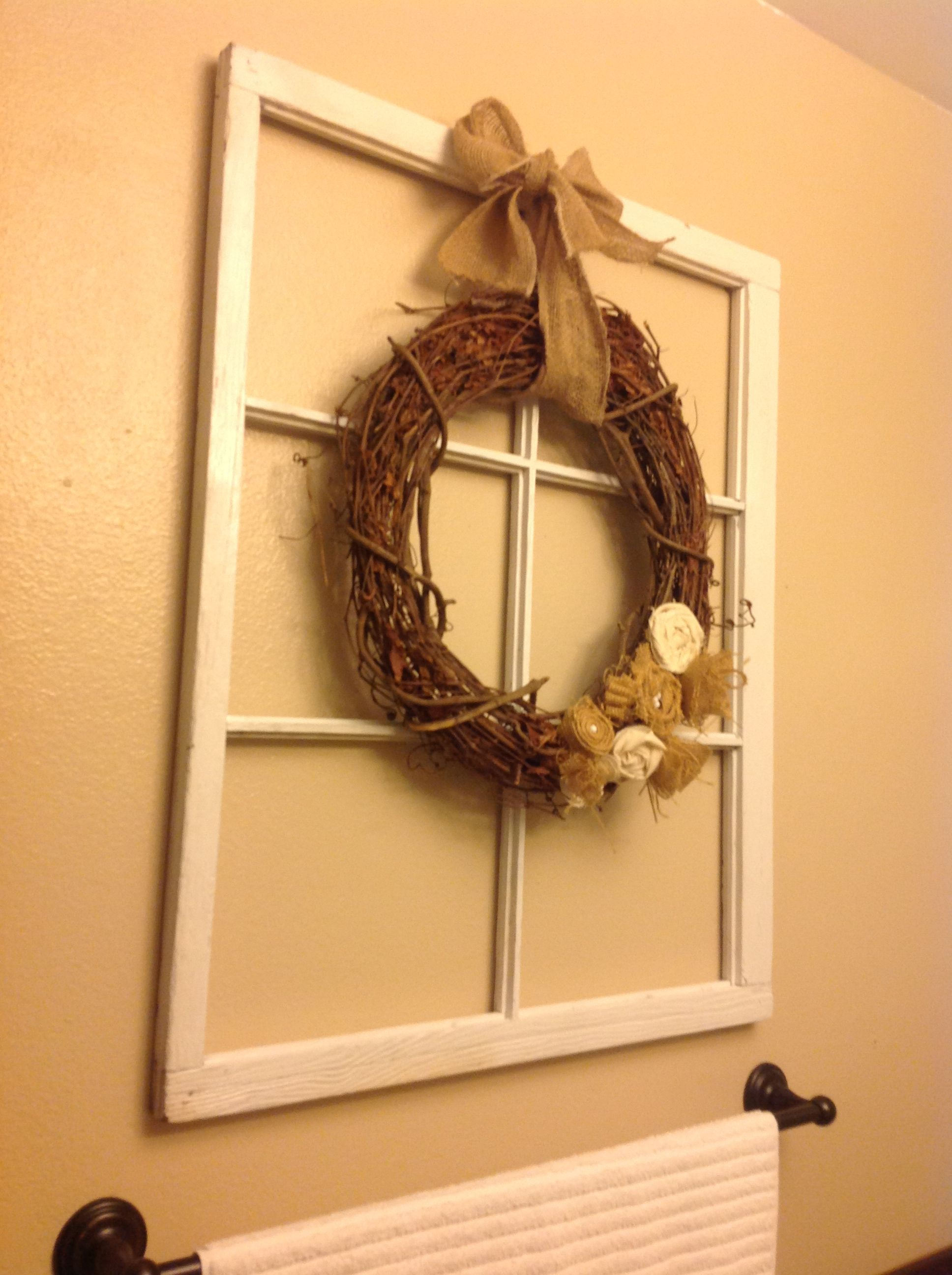 Window decor with wreath  diy burlap wreath on old window frame  diy  pinterest  diy