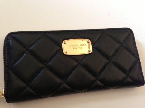 Michael Kors Fulton Hamilton Quilt Black Soft Genuine Leather Zip Around Wallet