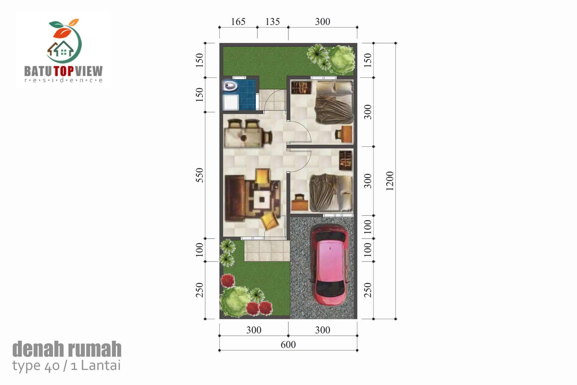 Denah Rumah Batu Top View Type 40 M2 1 Lantai Lantai Desain Batu