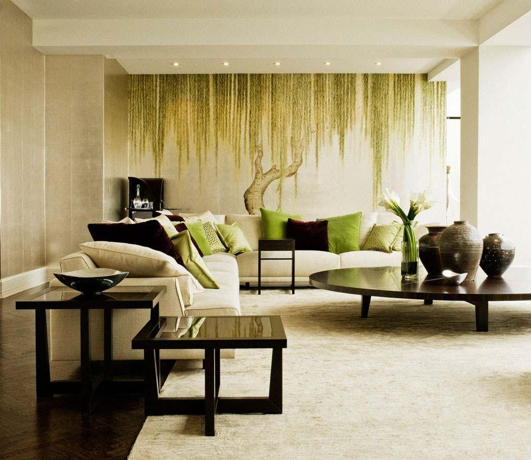 Photo Salon Feng Shui feng shui salon : canapé en u, table basse en bois, tables d