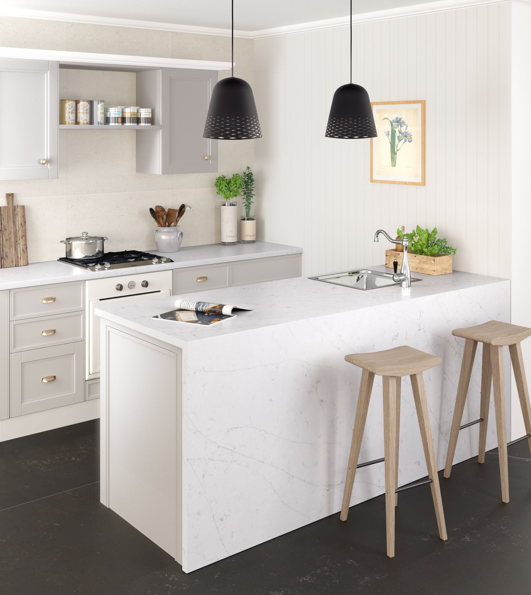 Barra de cocina en Silestone Eternal Statuario. | Silestone ...