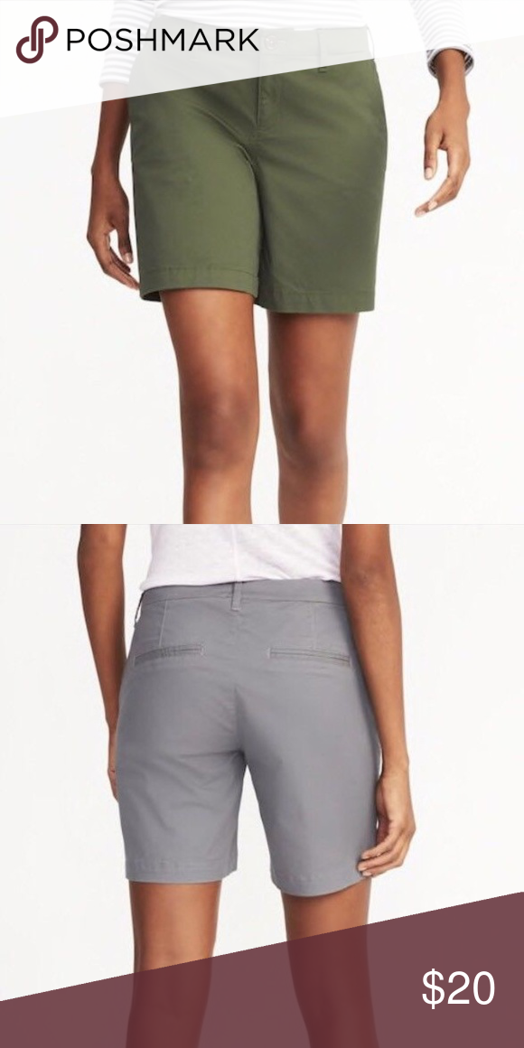 a2853d2ad96 Mid-Rise Everyday Shorts For Women - 7 inch inseam Green COLOR Relaxed fit  through body. Shorts hit above knee. 7