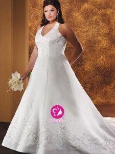A-ligne Dos nu Traîne moyenne Robe de mariée en Satin avec Perle Broderie(FR0257177)