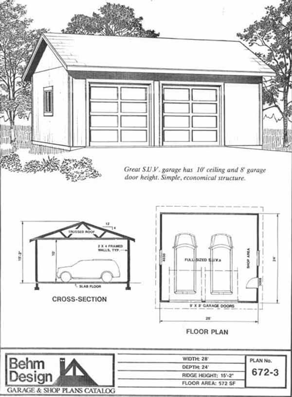 Oversized 2 Car Garage Plan With Shop 6723 28 x 24 by Behm – Simple 2 Car Garage Plans
