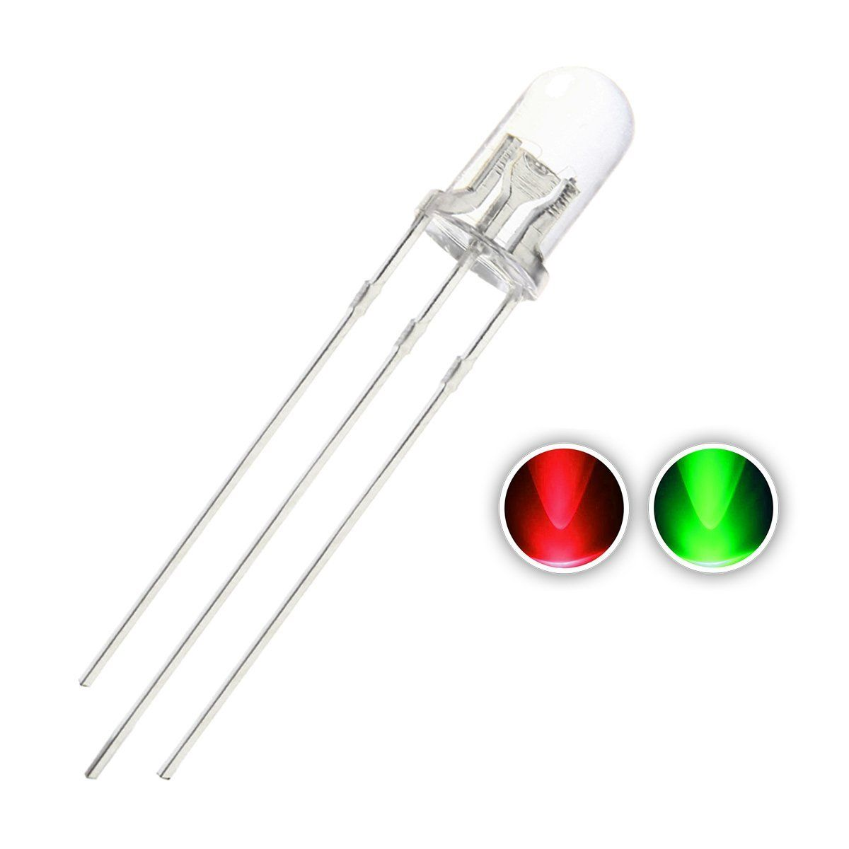 Chanzon 100pcs 5mm Led Light Emitting Diode Lamp Red And Green Bi Color Common Anode 3pins Round Clear Lens Light Emitting Diode Green Led Indicator Lights