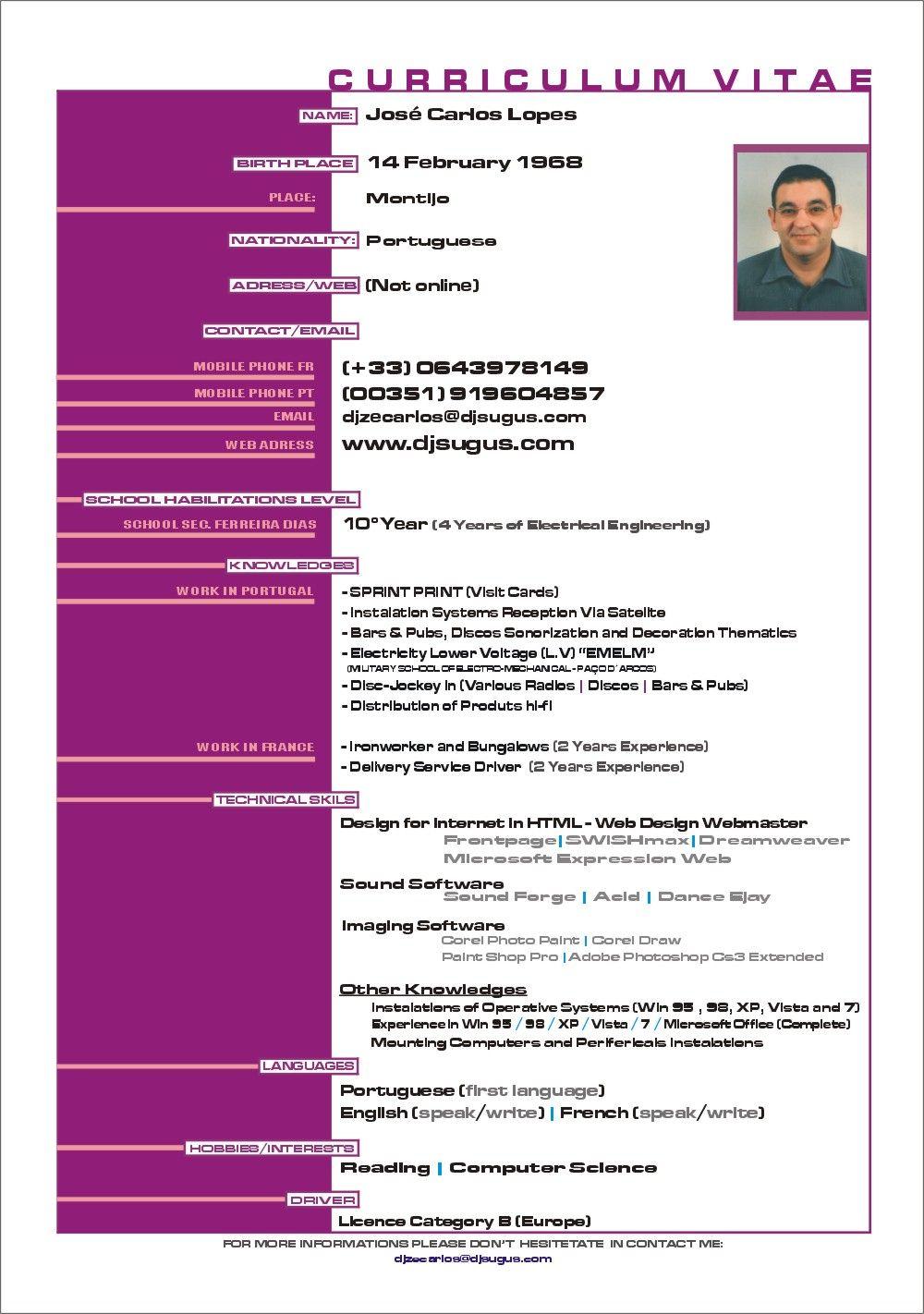 Curriculum Vitae Modelos En Espanol 13 | Cosas para comprar ...