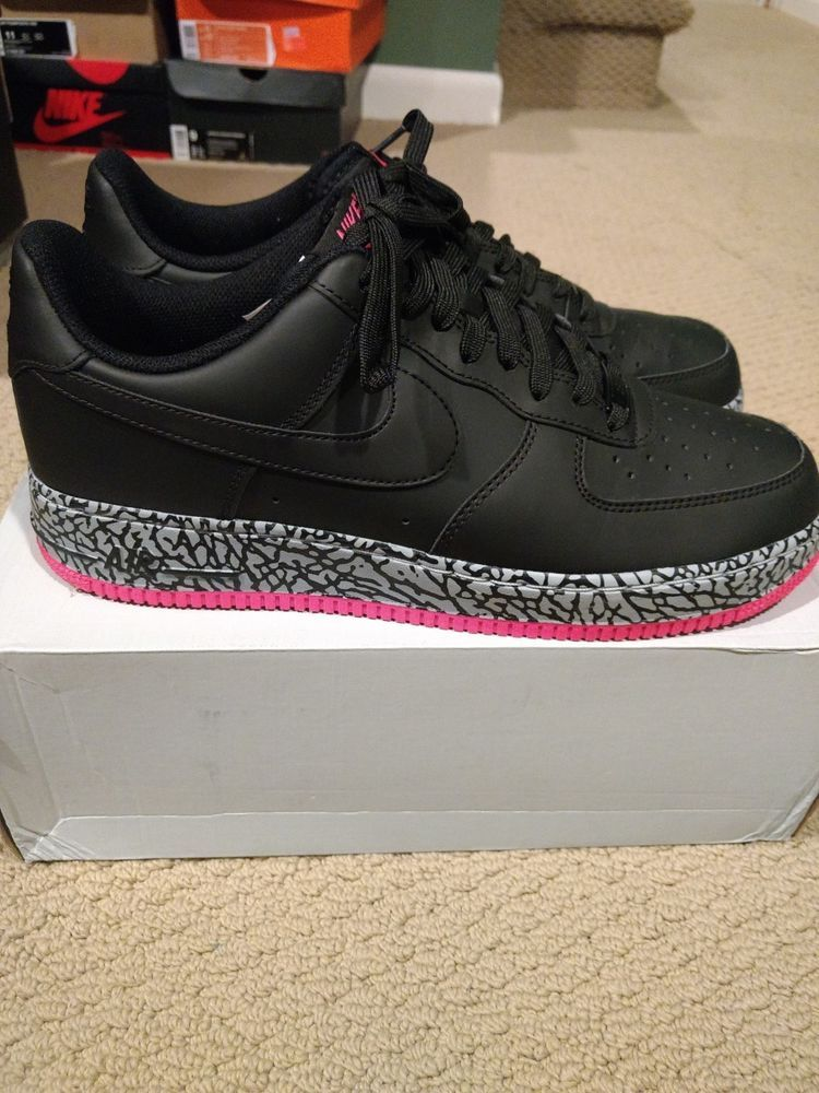 NIKE AIR FORCE 1 BLACK HYPER PINK WOLF GREY SZ 11 RARE