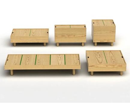 Jasper Morrison's  Crate Series of tables (and a bed platform)