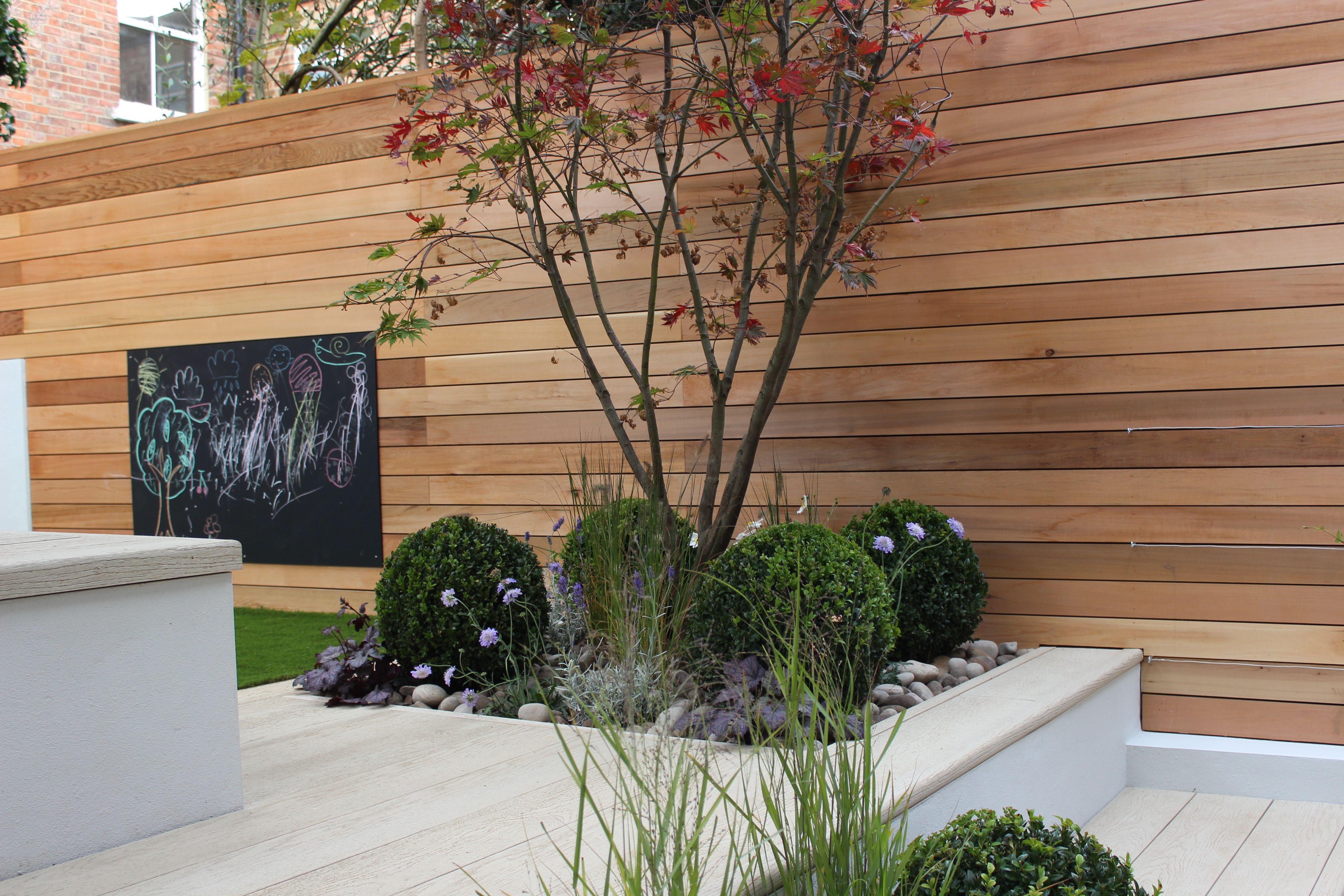 cedar screening buxus balls and millboard decking in a