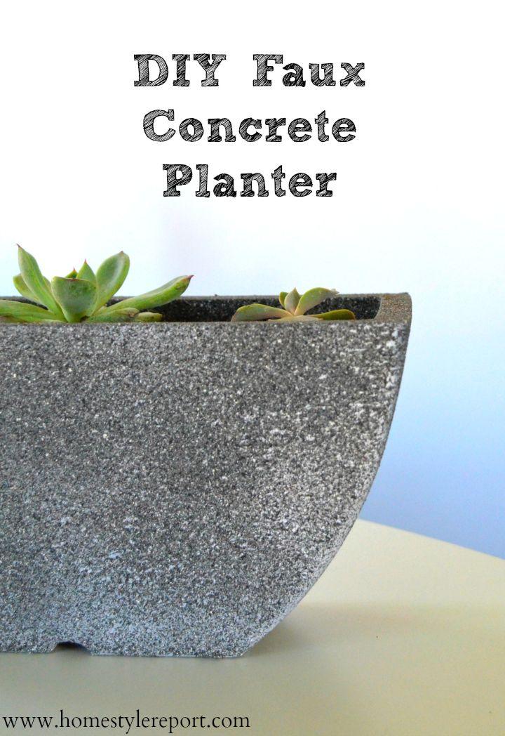 Diy Faux Concrete Planter Concrete Planters Diy Garden Projects Garden Crafts