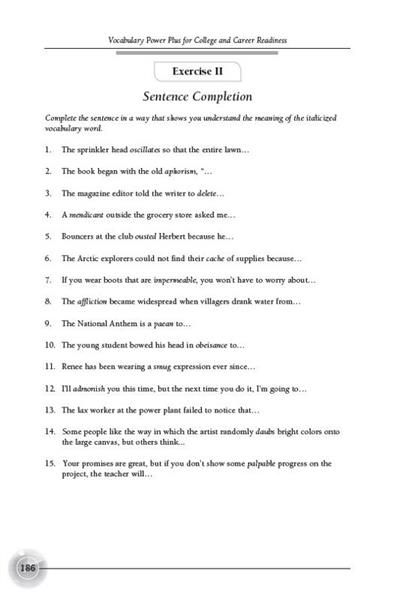 vocabulary power plus for college and career readiness level 1 lesson 2 #978-0-82194-180-5 (later edition is okay) vocabulary power plus for college & career  readiness, level 2, #978-1-62019-143-9  grammar for writing, level orange, grade.