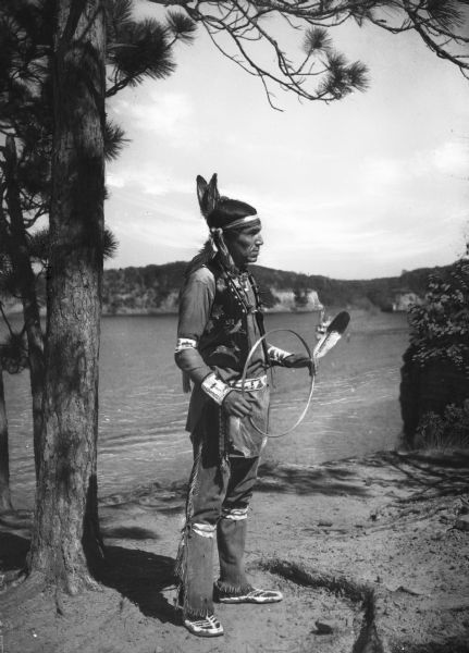 View Of A Native American Dancer At The Stand Rock Indian Ceremonial. The Event, Which Began In 1916, Is Held On The Bank Of The Wisconsin River.