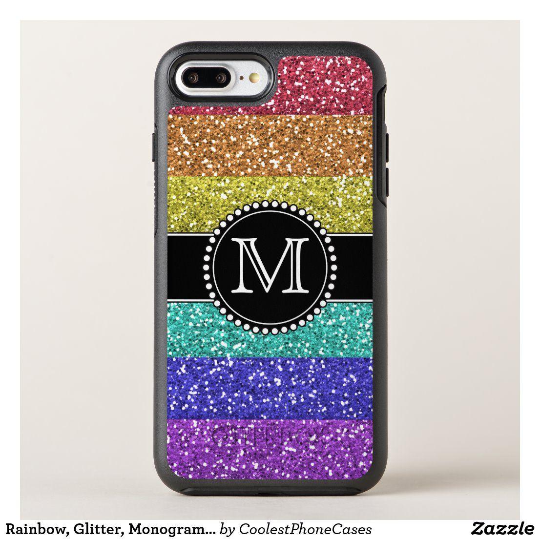 Rainbow, Glitter, Monogrammed OtterBox iPhone Case | Zazzle.com  – Phone Cases