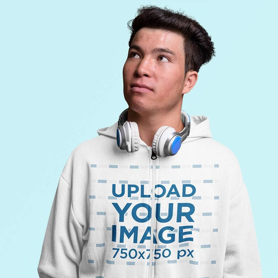 Download Placeit Full Zip Hoodie Mockup Of A Man With Headphones In A Studio Hoodie Mockup Full Zip Hoodie Clothing Mockup