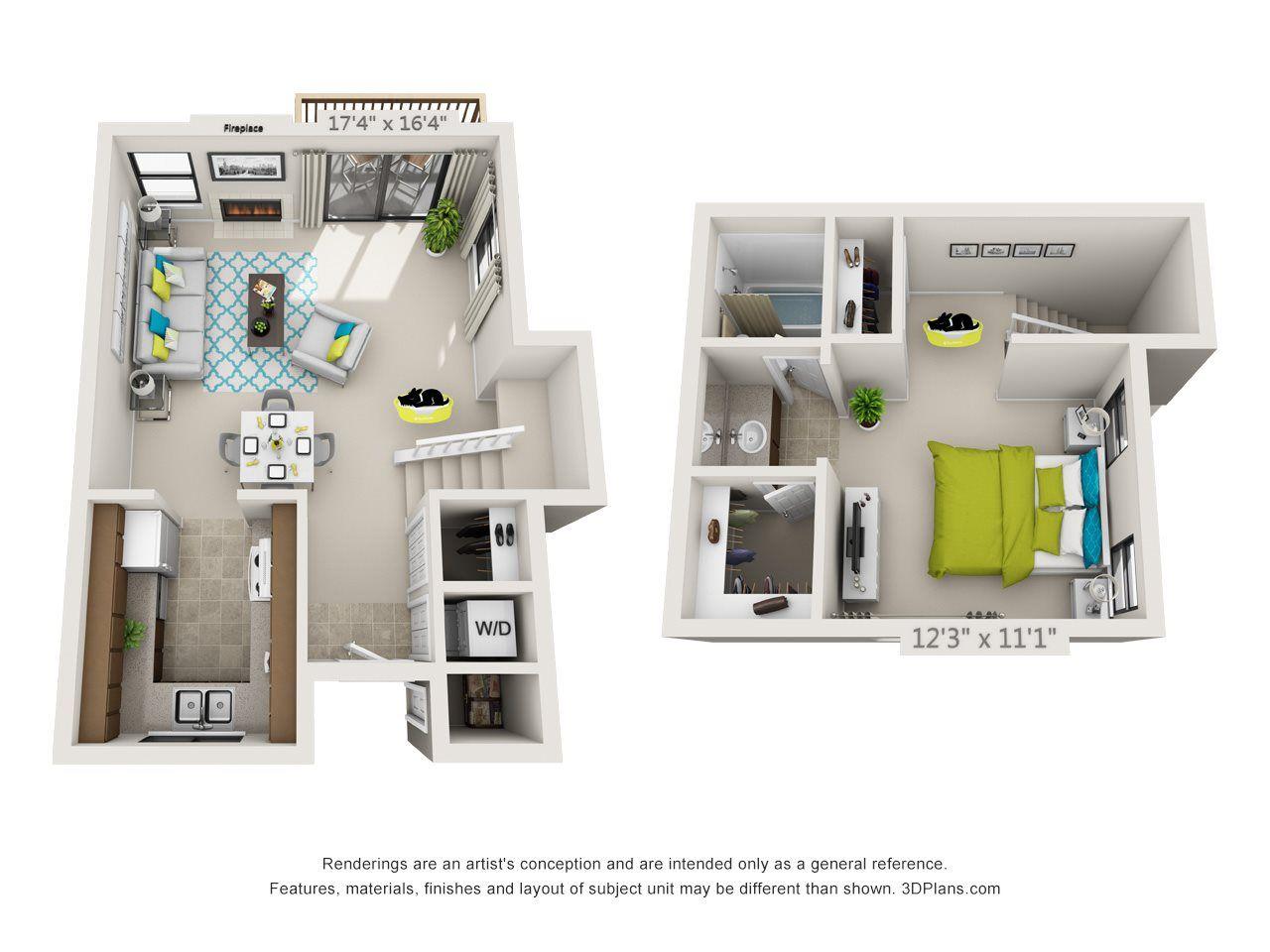 Elm (LoftStyle) Floor Plan 2 705 SQ FT 715815 1619