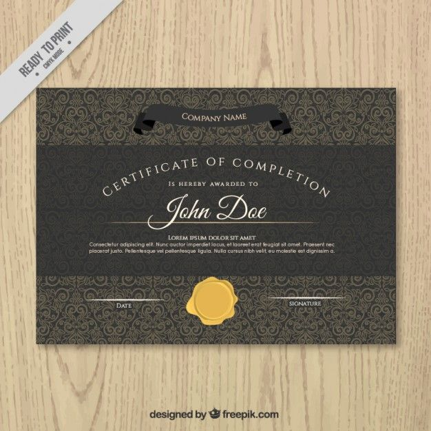 Black certificate of achievement with a gold seal Free Vector - certificate of achievement examples