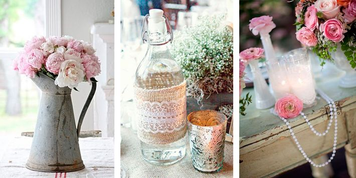 Decoracion Vintage Boda Comprar ~ Accesorios vintage para decorar eventos Jarras con flores, botellas