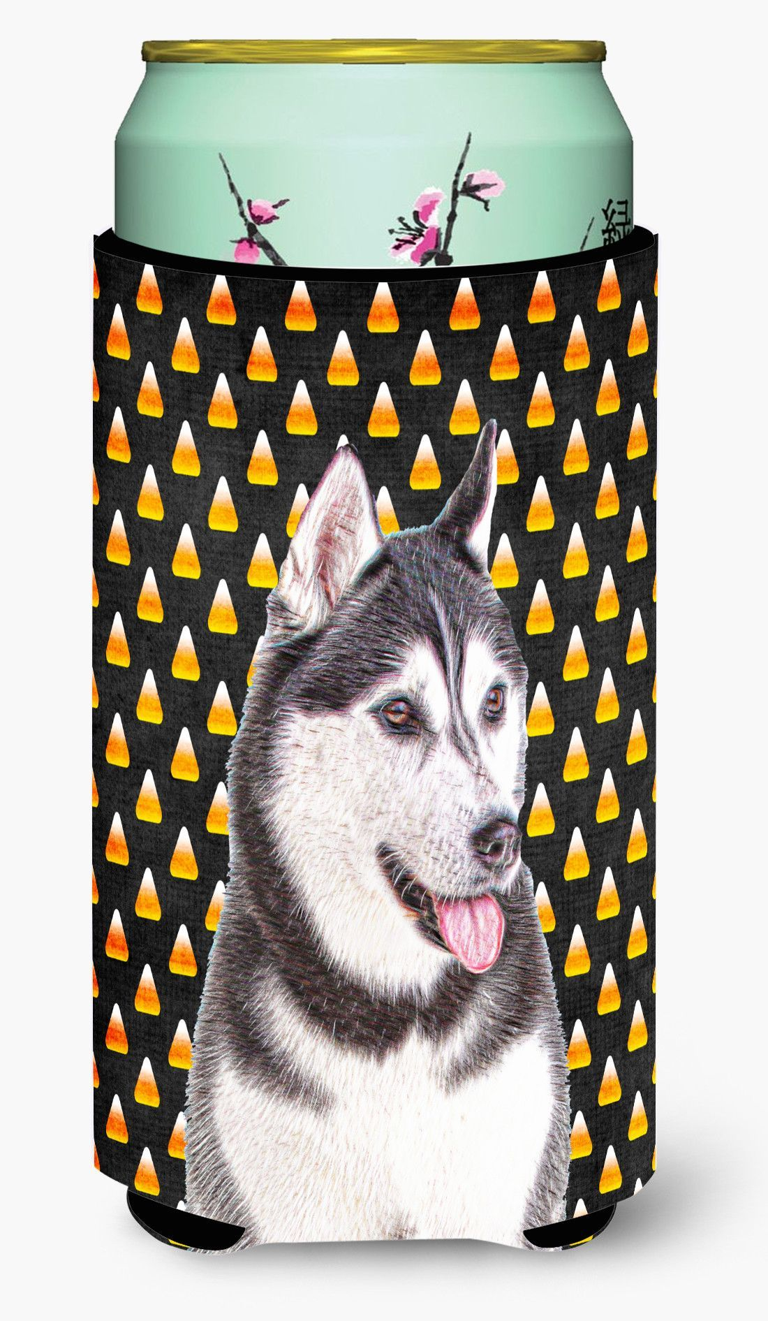 Candy Corn Halloween Alaskan Malamute Tall Boy Beverage Insulator Hugger KJ1210TBC