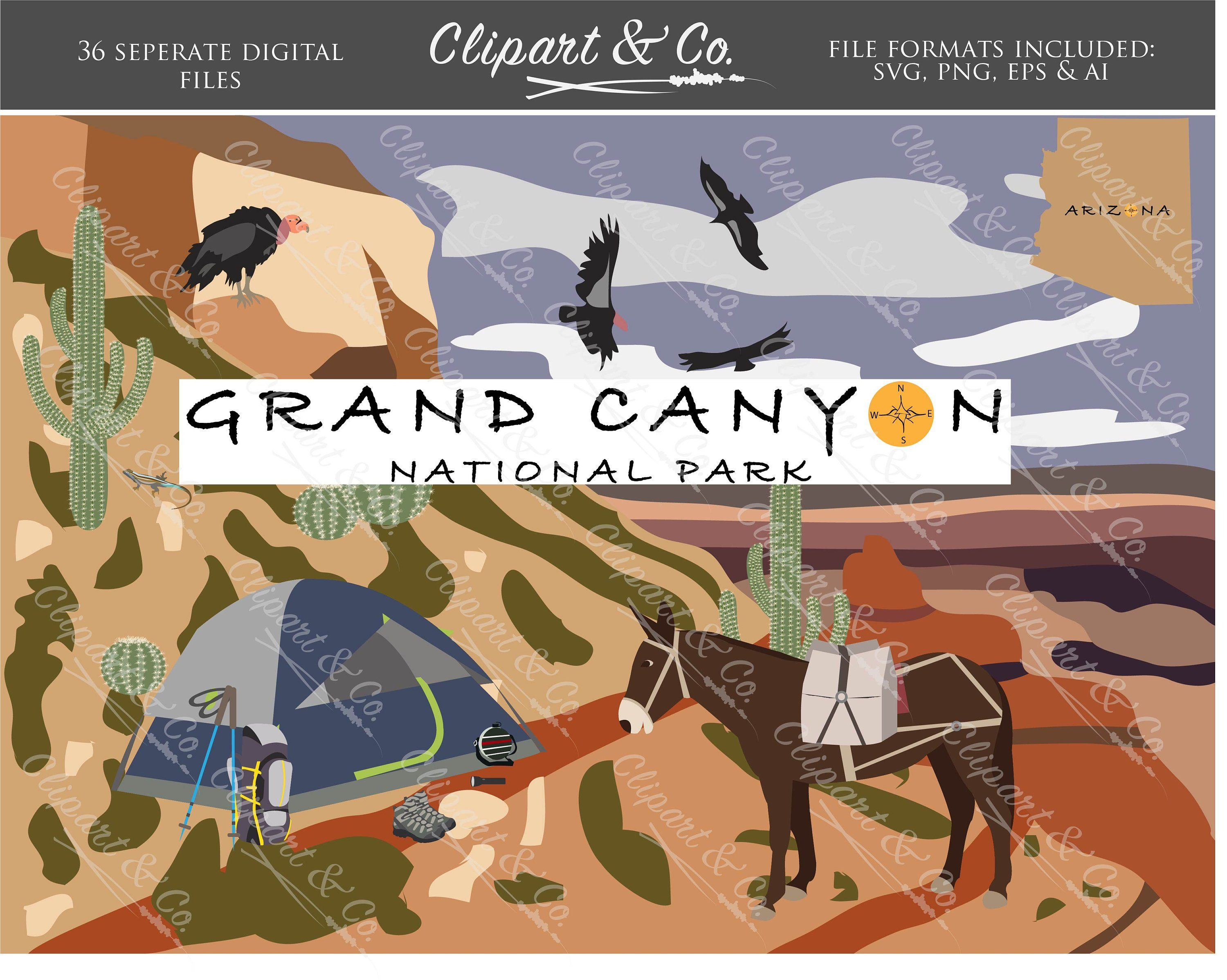 grand canyon travel clip art design elements 52 vector images for commercial use camping clipart animal clipart digital stamps [ 3000 x 2396 Pixel ]