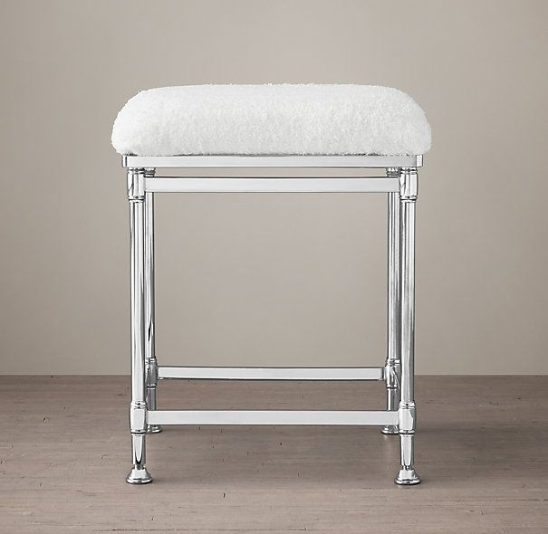 Newbury Bath Stool | Restoration Hardware | Polished Nickel with ...