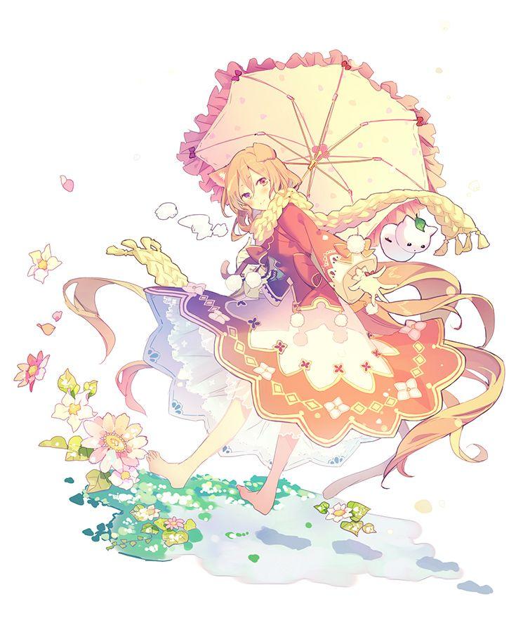 1girl animal_ears barefoot blush flower gloves jacket long_hair long_sleeves maro_(nikeneko523) orange_hair original scarf simple_background skirt smile solo umbrella very_long_hair violet_eyes white_background