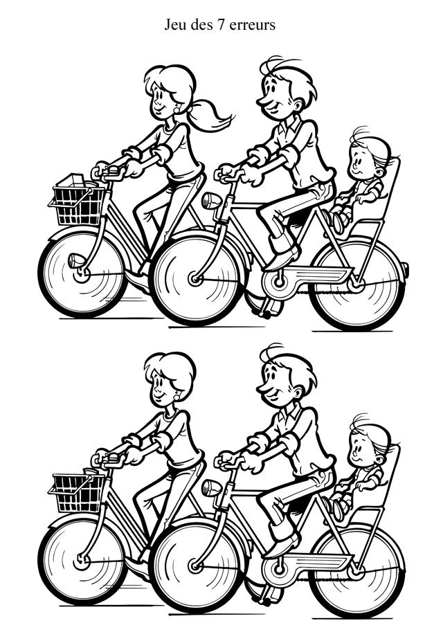 Jeu des 7 erreurs à imprimer : les vélos | Jeux des 7 erreurs, Jeux des erreurs, Jeux a imprimer