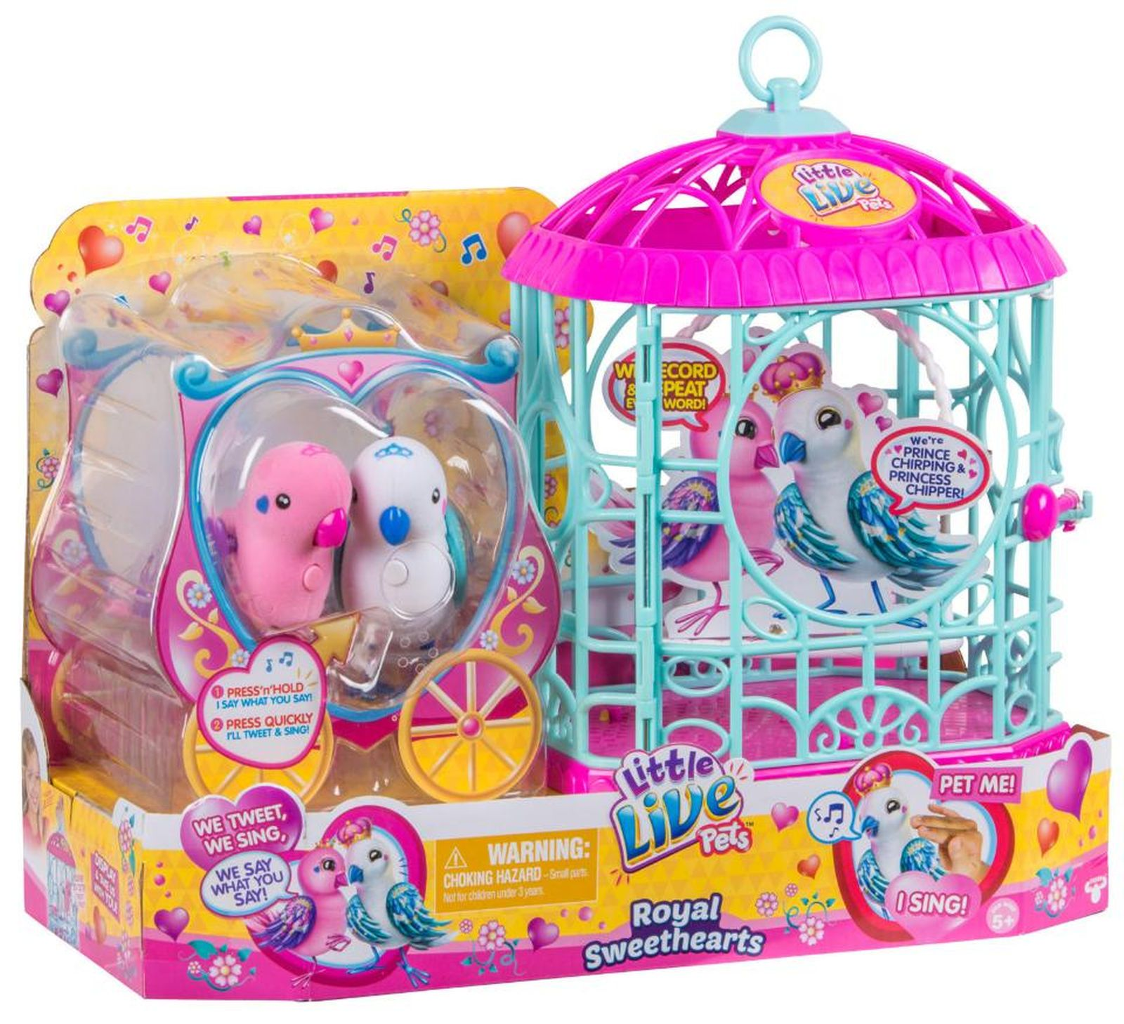 Little Live Pets Royal Sweethearts Love Birds With Cage Little