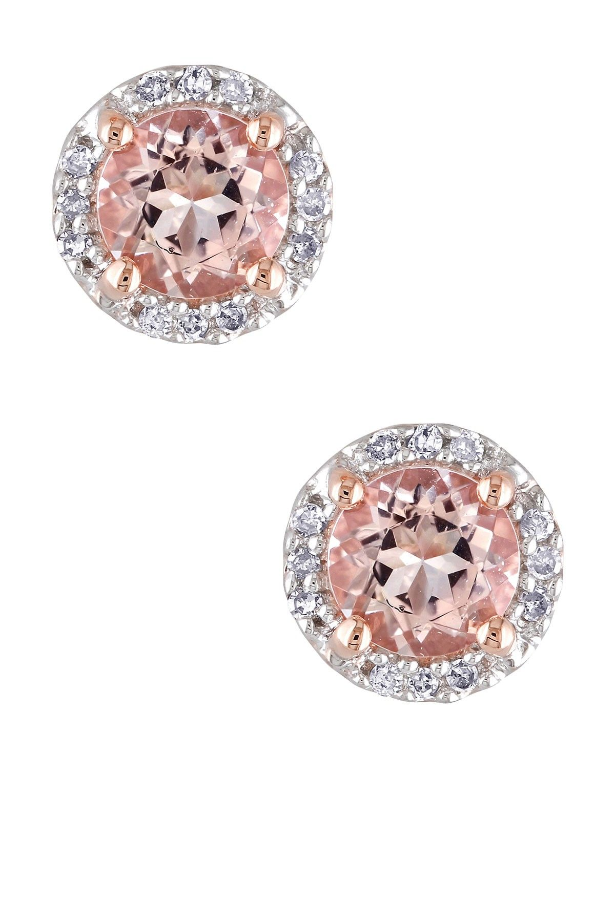 gold and diamond stud halo morganite rose earrings p