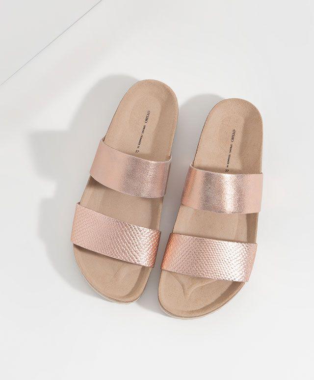 Doppeltem Metallic Sandale Sapatos Oysho Mit Riemchen qaww80zT