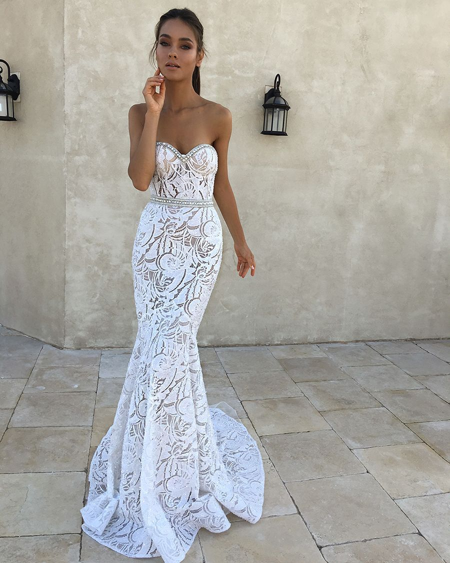 Sweetheart strapless wedding dress  A sweetheart strapless wedding gown with exquisite embroidery and