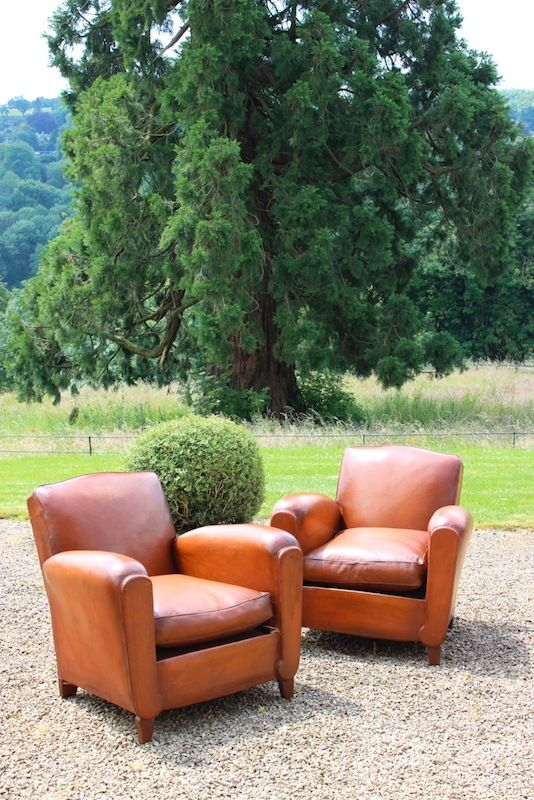 1950s French Leather Armchairs