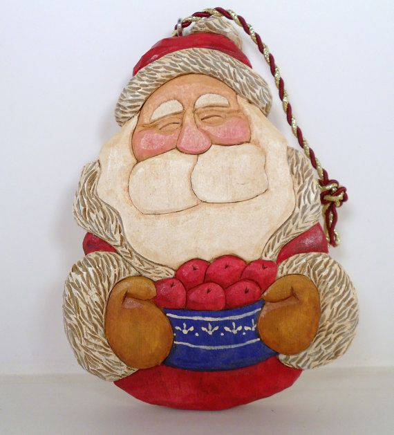 Hand Carved Wooden Santa Christmas Tree by TrueWoodcarvings