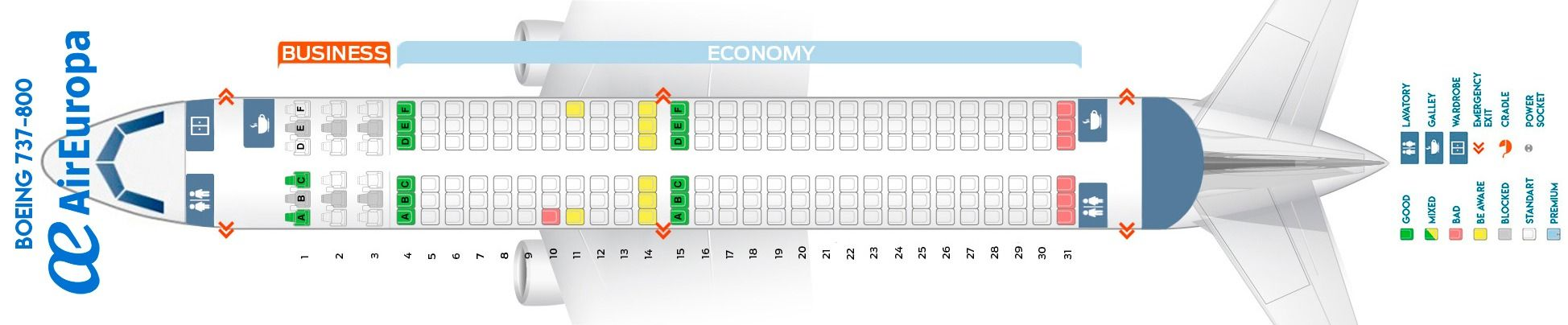 Seat Map And Seating Chart Boeing 737 800 Air Europa Seating Plan Alaska Airlines Airbus