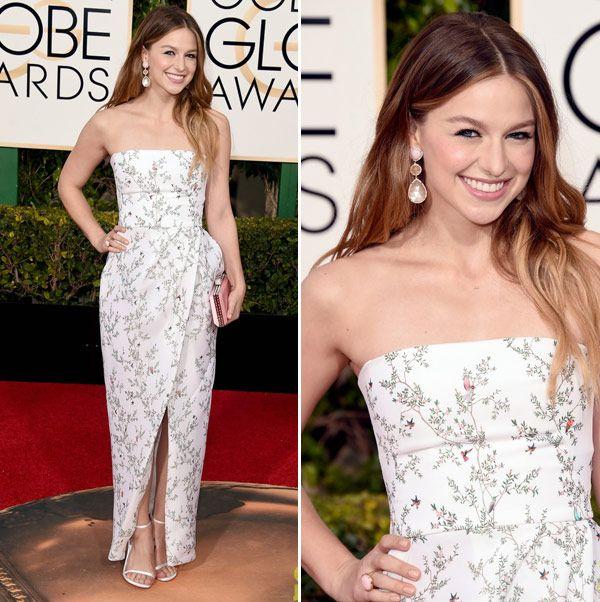 Melissa Benoist - Vestido Monique Lhuillier - Golden Globes Awards 2016