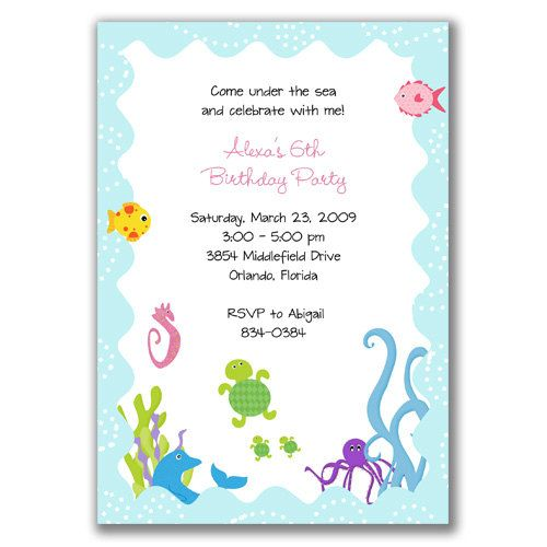 Whimsical Under The Sea Invitations For Birthday Party Or Baby