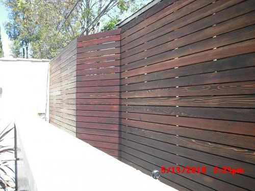 1x4 Redwood Modern Horizontal Fence Puttied Sanded And Stained To Hide Nails 1 Rochester Ave Westwood Los Angeles 90025 Outdoor Renovation Horizontal Fence Fence