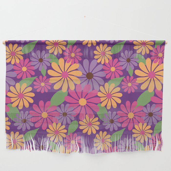 Colorful Retro Floral Summer Print Wall Hanging at Society6 | #society6 #wallhanging #dormdecor #homedecor #floralprint #colorfulflowers #colourfulflowers