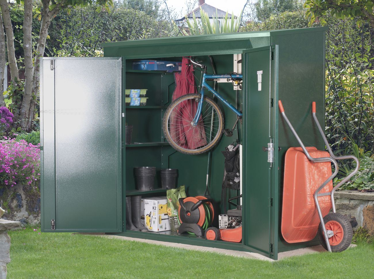 7ft X3ft Combined Metal Garden Bike Shed Outdoor Bicycle
