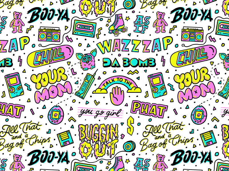 90 S Slang Pattern 90s Pattern 90s Yearbook Theme Bullet Journal Themes