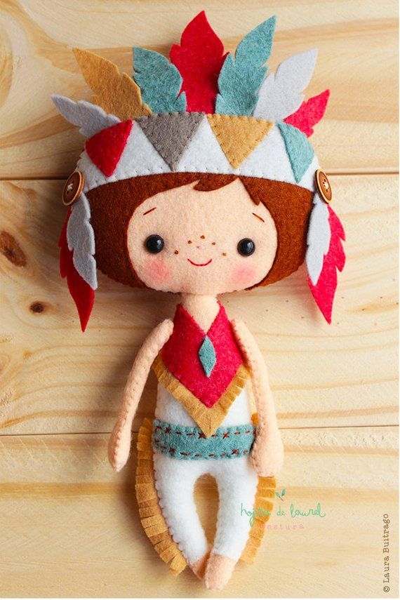 Native Americans Dolls, Felt Plush Dolls, Boho Nursery Decor, Tribal Gift, Boho Home Decor, Gifts fo #americandolls