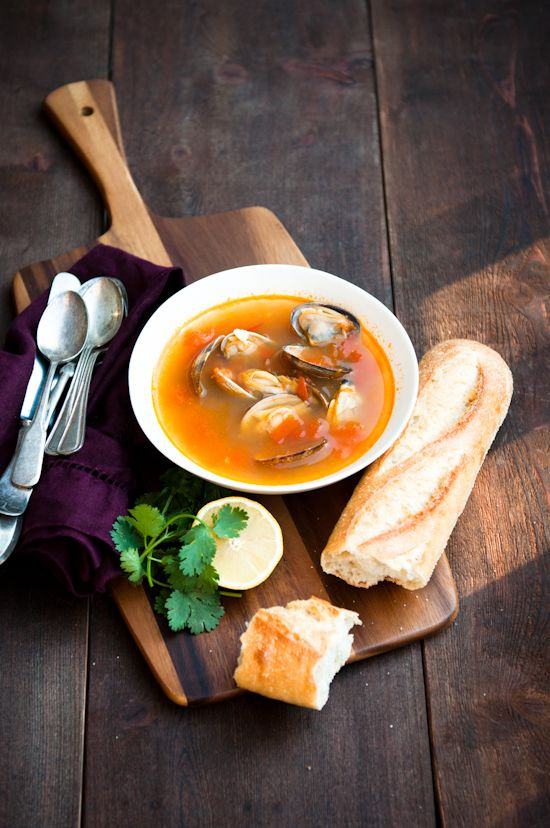 Spicy tomato & clam soup