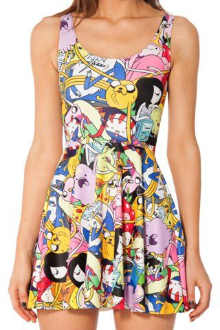 1d9197f02b462 Adventure Time Bro Ball Reversible Skater Dress | Black Milk ...