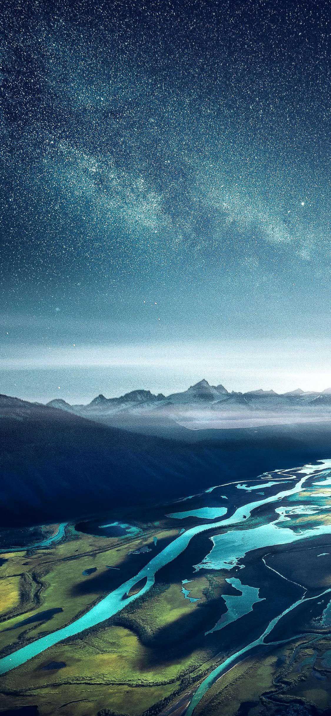 Iphone X Wallpaper Starry sky mountain range river
