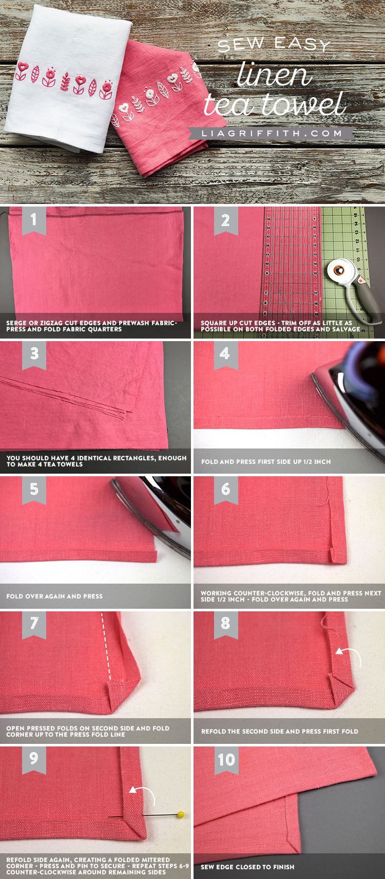 How To Make Your Own Tea Towels Or Napkins Out Of Linen With