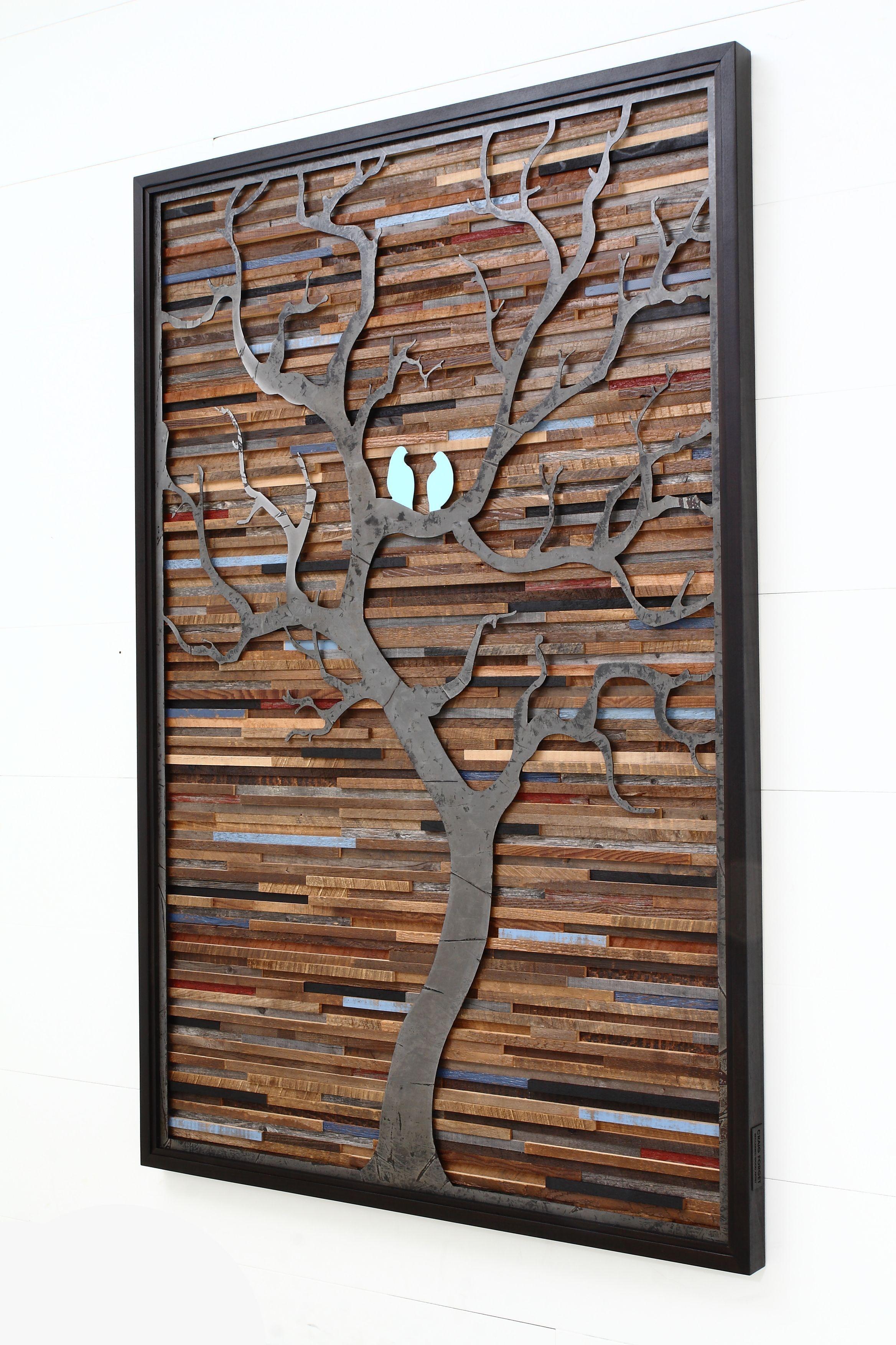 Custom made wood wall art made of old barnwood and natural