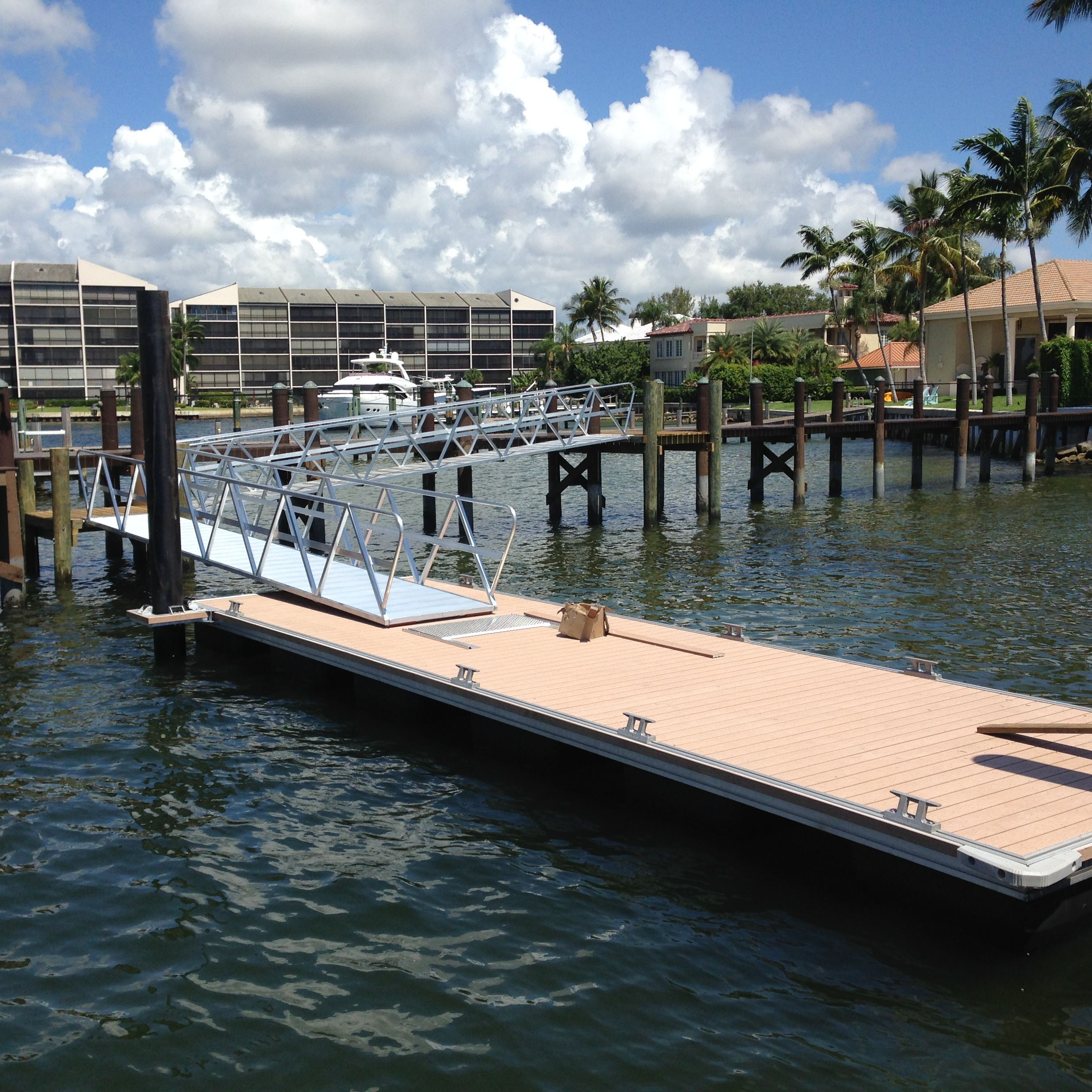 Aluminum Gangways To A Floating Dock For A South Florida